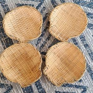 Vintage wicker sea shell baskets